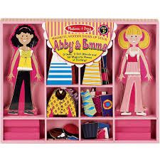 Melissa and Doug Abby and Emma Deluxe Magnetic Wooden Dress Up Dolls Play Set