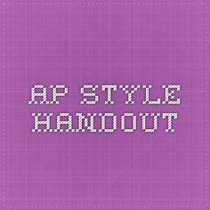 AP Style Handout