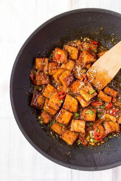vegan black pepper tofu in a wok