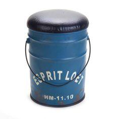 Pufe e Báu Lata Esprit Loft Azul