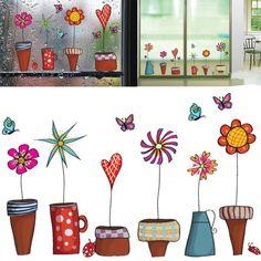 Flower Pots Window Wall Decor Stickers