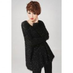 $16.91 Sequin Dolman Long Sleeves Scoop Neck Women's Black Fur Blend Loose-Fitting Sweater