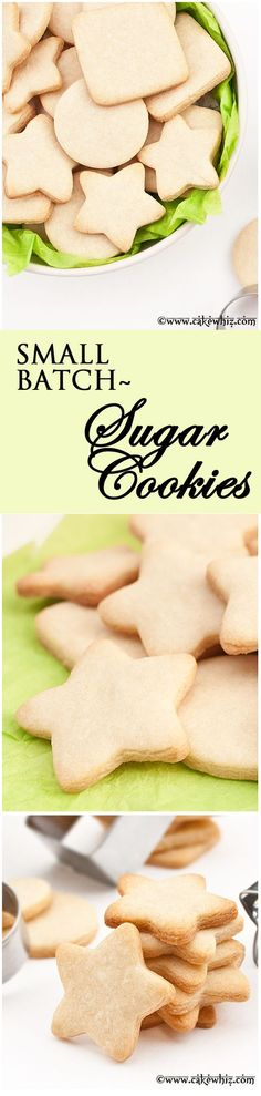 Small batch of SUGAR COOKIE recipe that yields only a few cookies. They taste great, hold their shape and require no chilling! From http://cakewhiz.com