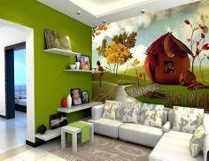 Lovely Pumpkin House Kids' Room Wall Mural, 8-Feet 12-Inch By 6-Feet 9-Inch - Childrens Wall Decor