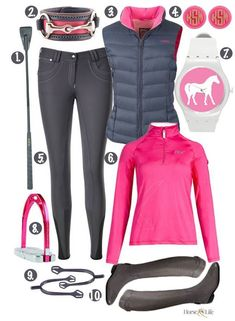 Love this Pink and Grey Riding combination #HorseClothes