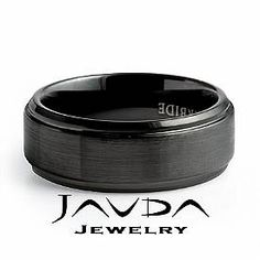 Men Tungsten Carbide Wedding Brushed Band Bevel Edge Comfort Fit 8mm Ring