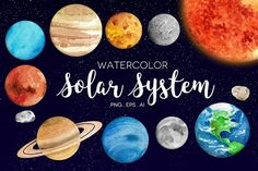 Watercolor Solar System Clip Art by Peachycottoncandy on @creativemarket