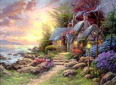 I <3 Thomas Kincaid! This would be my dream summer cottage! :) More
