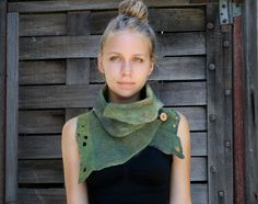 Nuno felted scarves - Felted Scarf - Felt Cowl - Organic texture- Natural Adventure- made to order. via Etsy.