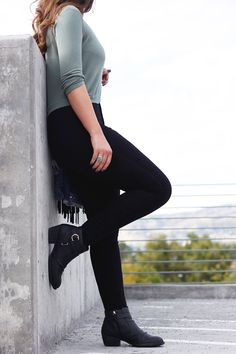 black pants and booties, midi shirt, jean jacket, fedora, boho style