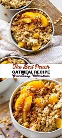 This Peach Oatmeal tastes like peach cobbler! Full essential vitamins, fiber and protein, this recipe is a healthy, delicious way to mix up your morning routine. #peaches #peach #oatmeal #rolledoats #breakfast #brunch #peachcobbler Baked Oatmeal#baked oatmeal#baked oatmeal recipes#baked oatmeal recipes breakfast#baked oatmeal recipes breakfast healthy#brown sugar baked oatmeal Brunch Recipes, Sweet Recipes, Breakfast Recipes, Breakfast Healthy, Brunch Ideas, Summer Recipes, Easy Cooking, Cooking Recipes, Healthy Recipes