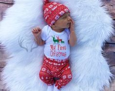 8a1580dbe5c6f Baby Christmas Romper Newborn Kids Clothing Set Boy Girl Long Sheeve Tops  Pants Hat Spring infant Outfit Set Gift New