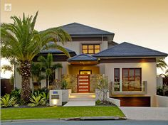 Love the way the garage is below the house, it creates more space!!