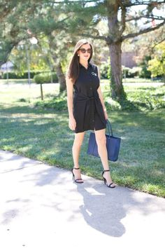 Black tie waist collared dress. This dress is casual and perfect for work or the weekend. You can dress it up with jewelry and heels or keep it casual. Great outfit for transitioning to fall!