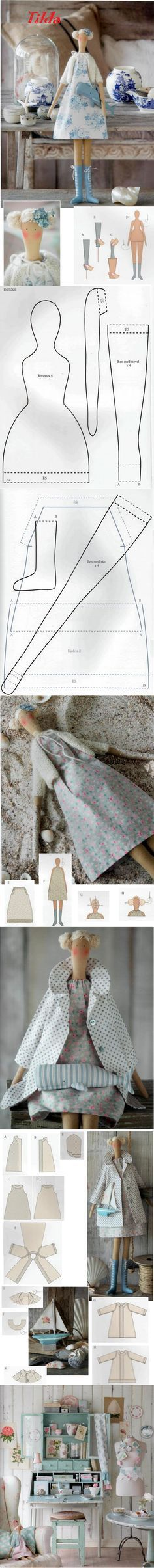 Tillda rag doll pattern for body clothing (from Tilda Somerliv Magazine) Doll Crafts, Diy Doll, Sewing Crafts, Sewing Projects, Sewing Tutorials, Sewing Dolls, Doll Tutorial, Stuffed Toys Patterns, Soft Dolls
