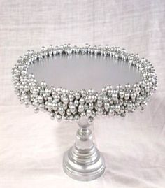 DIY cake stand with silver pearls