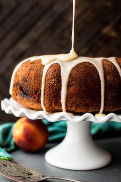 peach bundt cake with cinnamon peaches and brown butter icing
