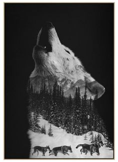 Howling Wolf Framed Art Print by Andreas Lie - Conservation Walnut - Wolf Pack Tattoo, Wolf Tattoo Sleeve, Chest Tattoo, Sleeve Tattoos, Wolf Tattoo Design, Tattoo Designs, Wolf Artwork, Canvas Artwork, Wolf Tattoos