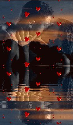 Animations, Animated Graphics, Animation, Fantasy, Keefers photo by Keefers_ Love Couple, Couples In Love, Halloween Imagem, Gif Bonito, Beau Gif, Les Gifs, Romantic Pictures, Water Reflections, Beautiful Gif