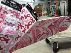 Breast Cancer Awareness Skateboard with Magic Marble Paint