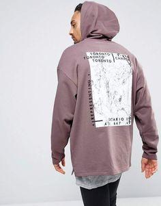 Asos Oversized Longline Hoodie With Marble Print