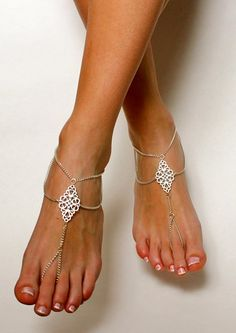 Boho Tribal Barefoot Sandals Chained Foot Jewelry Anklet Gypsy Sandals Slave Sandals Bare Foot Sandals Bohemian Sandals Boho Chic Jewelry | BareSandals - Jewelry on ArtFire