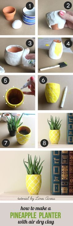 DIY Succulent Pineapple Planter. Adorable and easy craft inspired by the tropical fruit that is SO IN right now! Cute for home or dorm decor, as well as a simple yet lasting housewarming or general gift. Need: A terracotta pot Air Dry Clay (WHITE) Yellow paint (Recommend: FolkArt Florescent Glow Yellow found at http://PlaidOnline.com) White or Black Paint Marker