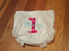 1st Birthday Bloomers appliqué diaper covers Pink and white polkadot diva princess by lettersandlollipops on Etsy