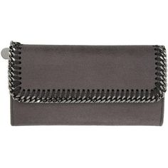 50f15ad4ed5186 Stella McCartney Grey Falabella Continental Flap Wallet (21.905 RUB) ❤  liked on Polyvore featuring