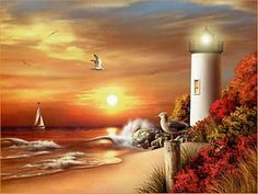 paintings of lighthouse by thomas kinkade Thomas Kinkade Art, Kinkade Paintings, Thomas Kincaid, Art Thomas, Lighthouse Painting, Lighthouse Pictures, Beautiful Paintings, Les Oeuvres, Amazing Art