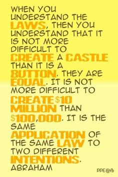 When you understand the law, then you understand that it is not more difficult to create a castle than it is a button. they are equal. It is not more difficult to create $10 million than $100,000. It is the same application of the same law to two differen  #lawofattraction  #successwithkurt   #kurttasche