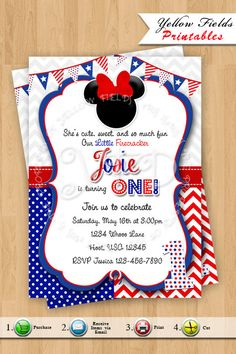 Items Similar To Minnie Mouse 4th Of July InvitationRed White Blue Chevron Invitations1st Birthday Invitation Style 22 YOU PRINT On Etsy
