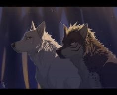 """From the anime """"Ginga Densetsu Weed"""", Tesshin and Akame. Anime Wolf, Fantasy Wolf, Fantasy Art, Animal Drawings, Cool Drawings, Cartoon Wolf, Wolf Love, Wolf Pictures, Puppies"""