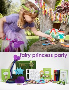 Fairy princess birthday party idea -- gift includes: wand, paper dolls and accessories, and flower garland! $19.95