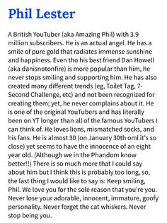 Never,ever,stop being you Phil,we love our so much