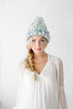 Snow Bunny Cable Beanie in Icey Blue | Knit Collage