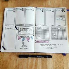 Weekly bullet journal layout with mood, water, & habit trackers. #bujo #plannercommunity #lbloggers