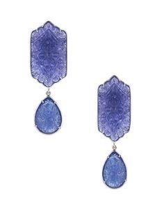 Courtney Lauren Carved Tanzanite Double Drop Earrings