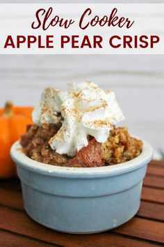 An easy apple pear crisp recipe made in the slow cooker. This warm and comforting Fall dessert is great on its own or served with vanilla ice cream. Yum! #FallRecipes #SlowCookerRecipes #crockpotrecipes #applerecipes #FallDesserts Slow Cooker Recipes Dessert, Chef Recipes, Kitchen Recipes, Crockpot Recipes, Cooking Recipes, Snacks Recipes, Fruit Recipes, Healthy Snacks, Dessert Recipes