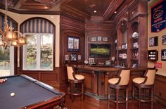 A look at 12 billiards rooms with wet bars | homesoftherich.net