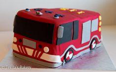 3D firecar cake firefighter fondant cake