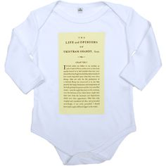 """Tristram Shandy Babygro the famous opening line of Laurence Sterne's wonderful novel: """"I wish either my father or my mother, or indeed both of them as they were in duty both equally bound to it, had minded what they were about when they begot me..."""" feature on this truly literary babygro."""