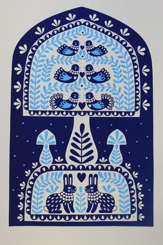 Folk Art Print by Karoline Rerrie. Birds and other animals feature heavily in this style of art. Scandinavian Artwork, Scandinavian Pattern, Art And Illustration, Illustrations, Folklore, Petite France, Folk Print, Art Print, Polish Folk Art