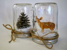Homemade waterless snow globes -- vintage feel, simple. Great craft for kids!