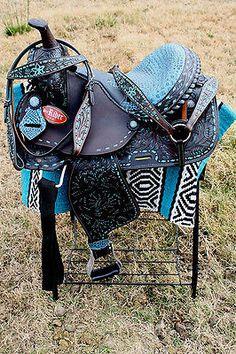 "16"" Horse Western Barrel Show Pleasure LEATHER SADDLE Tack Combo Deal  50172"