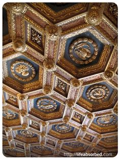 Hearst Castle, Ceiling http://lifeabsorbed.com/2012/09/25/hearst-castle-4-guest-house-kitchen/