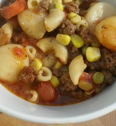 Recipe For Ground Beef and Vegetable Soup - Pinner stated: I created this soup with items I had on hand and thought they would meld into one tasty soup and boy was I right.
