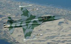 Um caça F-5 da FAB armado com um par de mísseis Piranha na ponta das asas (Foto - FAB)