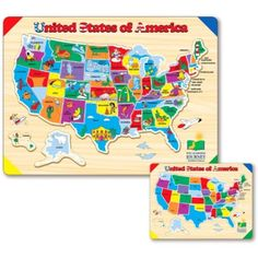 Vind meer puzzels informatie over houten wereldkaart puzzel houten the learning journey lift learn usa map puzzle this fun and colorful tray puzzle features the united states map and will teach children the 50 states gumiabroncs Image collections