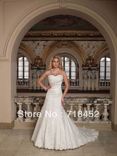 Lace Wedding Dresses A-line Sweetheart Beaded 2013 Free Shipping D242